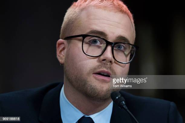 Christopher Wylie a former employee of Cambridge Analytica testifies during a Senate Judiciary hearing in Dirksen Building titled 'Cambridge...