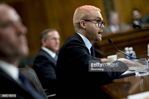 Christopher Wylie a whistleblower and former employee with Cambridge Analytica speaks during a Senate Judiciary Committee hearing in Washington DC US...