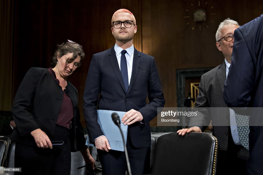 Christopher Wylie, a whistleblower and former employee with Cambridge Analytica, arrives to a Senate Judiciary Committee hearing in Washington, D.C., U.S., on Wednesday, May 16, 2018. Cambridge Analytica, a U.K.-based data broker that improperly gained access to tens of millions of Facebook users personal data, announced its dissolution earlier this month after using the Facebook data in targeted influence campaigns for Donald Trumps 2016 presidential campaign. Photographer: Andrew Harrer/Bloomberg via Getty Images