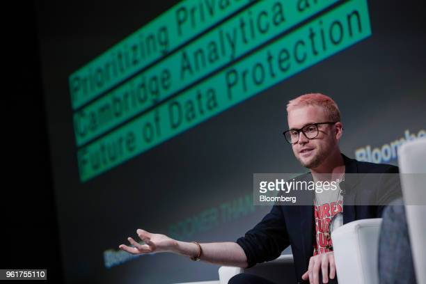 Christopher Wylie, a whistleblower and former employee with Cambridge Analytica, speaks during Bloomberg's Sooner Than You Think technology...