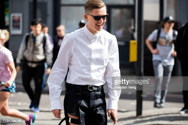 Christopher-Jacques Morency is seen outside John Lawrence Sullivan during London Fashion Week Men's June 2019 on June 08, 2019 in London, England.