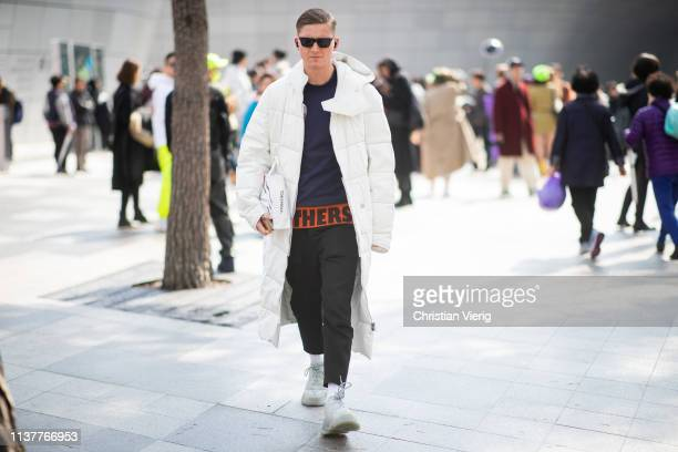 ChristopherJacques Morency is seen wearing white coat at the Hera Seoul Fashion Week 2019 F/W at Dongdaemun Design Plaza at Dongdaemun Design Plaza...