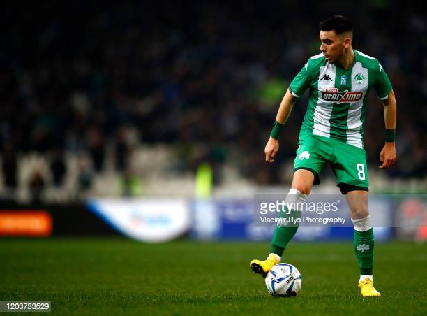 Christos Donis of Panathinaikos controls the ball during the Greece SuperLeague match between Panathinaikos FC and P.A.O.K. At OAKA Stadium on...