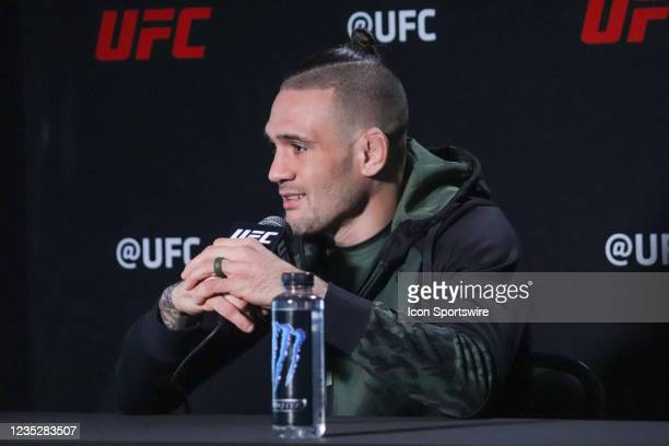 Christos Giagos interacts with media during the UFC Vegas 37 Media Day on September 15, 2021 at UFC Apex in Las Vegas, Nevada.
