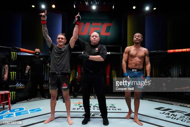 Christos Giagos reacts after defeating Carlton Minus in their catchweight bout during the UFC Fight Night event at UFC APEX on December 19, 2020 in...