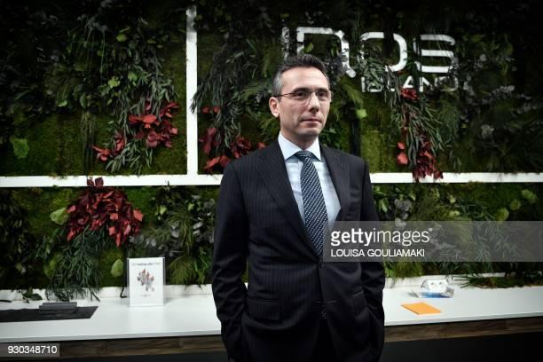 Christos Harpantidis managing director of Papastratos poses at the company's facilities in Aspropyrgos near Athens on March 8 2018 Philip Morris...