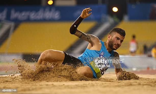 Christos Koutoulias of Greece competes in the men's long jump T47 final during the Evening Session on Day Seven of the IPC Athletics World...