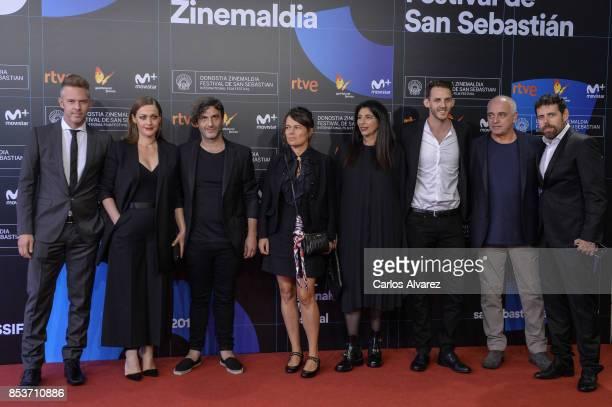 Christos Loulis Eleni Roussinou Alexandros Avranas Kristina Larsen David Pimm and Greg Tselentis attend 'Love Me Not' photocall during 65th San...