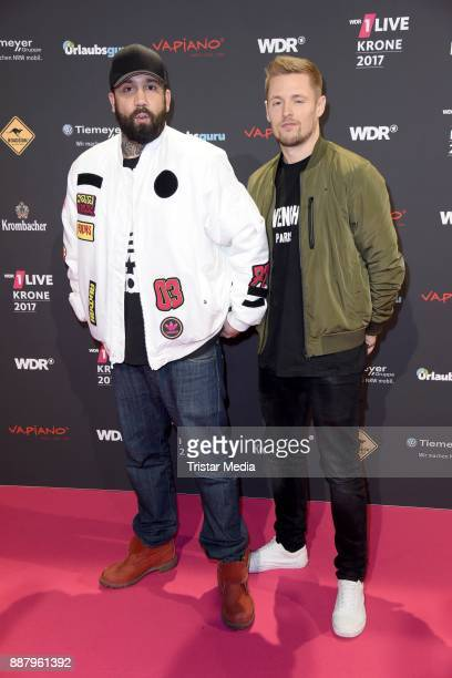 Christos Manazidis and Sebastian Meichsner of 'Bullshit TV' attend the 1Live Krone radio award at Jahrhunderthalle on December 7 2017 in Bochum...