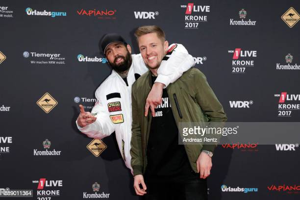 Christos Manazidis and Sebastian Meichsner of 'Bullshit TV' attend the 1Live Krone radio award at Jahrhunderthalle on December 07 2017 in Bochum...