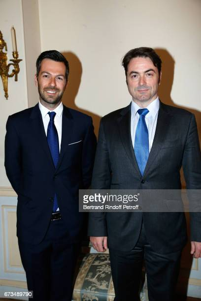 Christos Markogiannakis and Prince Joachim Murat attend the presentation of the Book 'Scenes De Crime au Louvre' written by Christos Markogiannakis...