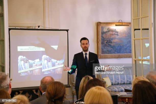 Christos Markogiannakis presents his Book 'Scenes De Crime au Louvre' at Greece Ambassy on April 26 2017 in Paris France