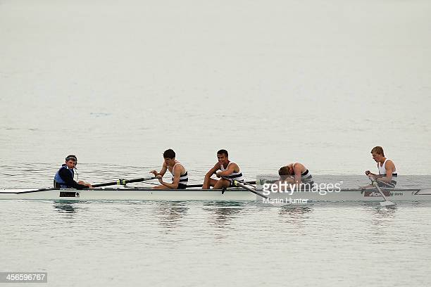 Christs College team mates react after winning the boys under-17 coxed four during the 2013 Meridian Otago Championships at Lake Ruataniwha on...