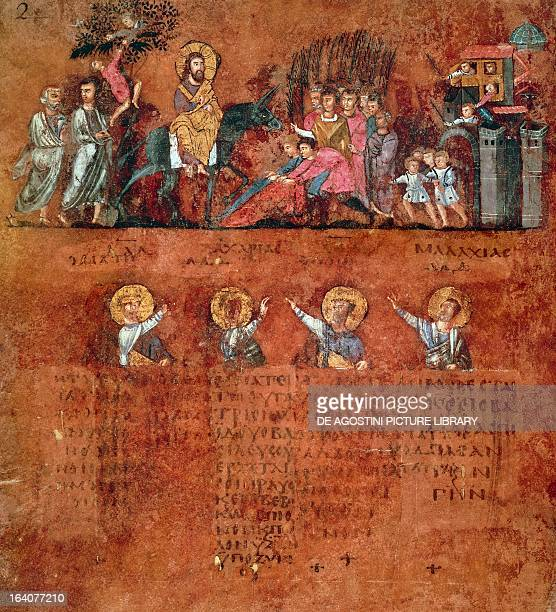 Christ's entry into Jerusalem miniature from the Rossano Gospels parchment manuscript Greece 6th century Rossano Museo Diocesano