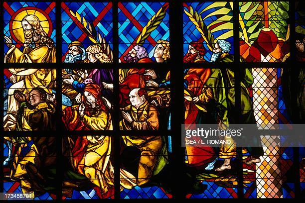 Christ's entry into Jerusalem stained glass window Basilica of Our Lady of Peace Yamoussoukro Lagunes region Ivory Coast Detail