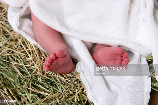 christ's feet - religious christmas stock photos and pictures