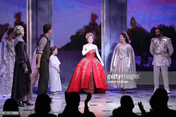 Christy Altomare and cast during Broadway Opening Night Performance Curtain Call bows for 'Anastasia' at the Broadhurst Theatre on April 24 2017 in...