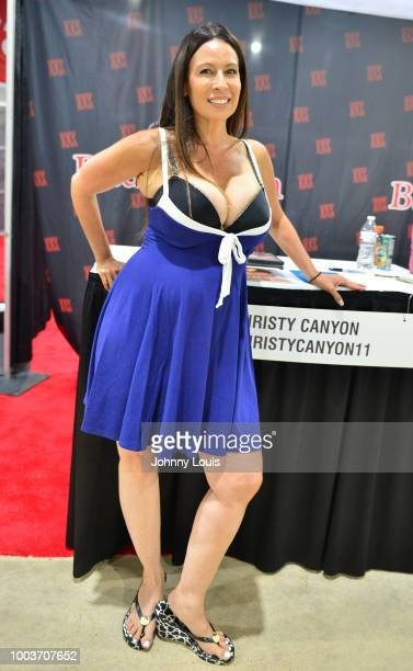 Christy Canyon attends the EXXXOTICA Expo 2018 at Miami Airport Convention Center on July 21, 2018 in Miami, Florida.