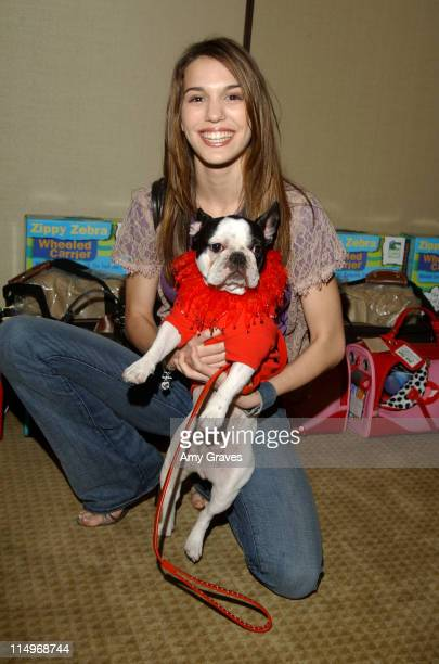 Christy Carlson Romano and Chewy during The Jeep Yappy Hour and Febreze Pet Fashion Show sponsored by GW Little -Inside at The Century Plaza Hotel in...