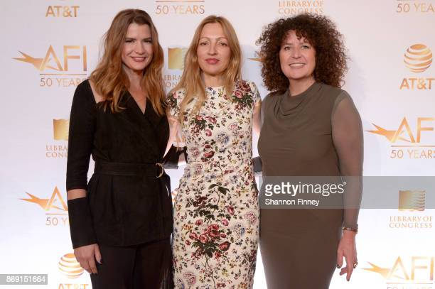 Christy Cashman Elika Portnoy and Melissa Steffe attend the AFI 50th Anniversary Gala at The Library of Congress on November 1 2017 in Washington DC...