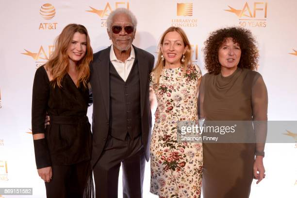 Christy Cashman Morgan Freeman Elika Portnoy and Melissa Steffe attend the AFI 50th Anniversary Gala at The Library of Congress on November 1 2017 in...