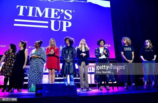 Christy Haubegger Marisa Tomei Tarana Burke Mira Sorvino Fatima Goss Graves and Amber Tamblyn pose onstage at 'Time's Up' during the 2018 Tribeca...