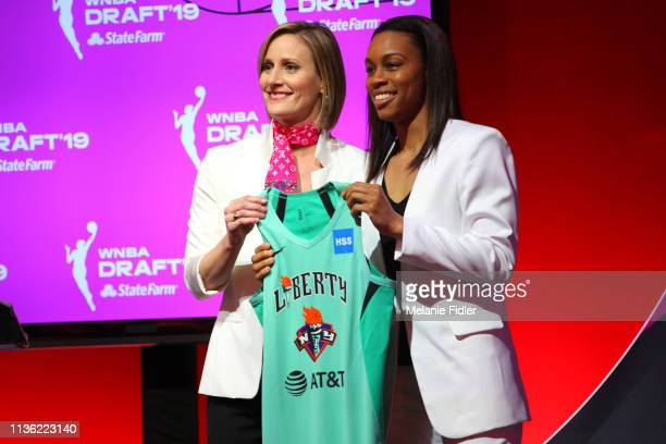 Christy Hedgpeth poses with Asia Durr after being drafted by the New York Liberty during the 2019 WNBA Draft on April 10 2019 at Nike New York...