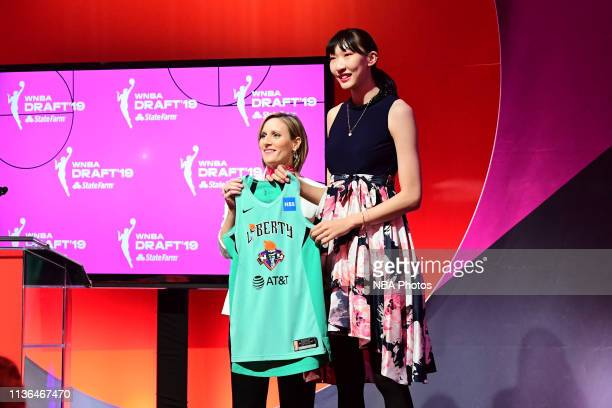 Christy Hedgpeth poses with Han Xu after being drafted by the New York Liberty during the 2019 WNBA Draft on on April 10 2019 at Nike New York...