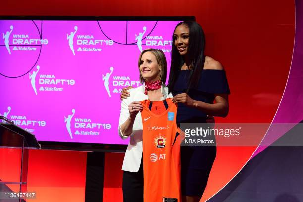 Christy Hedgpeth poses with Kristine Anigwe after being drafted by the Connecticut Sun during the 2019 WNBA Draft on April 10 2019 at Nike New York...
