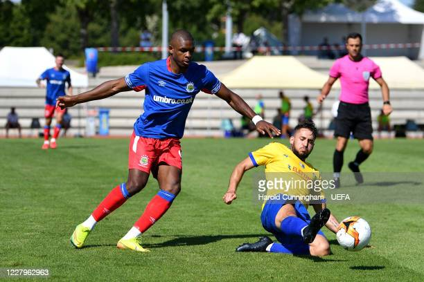 Christy Manzinga of Linfield FC and Alessandro D'Addario of S.S. Tre Fiori F.C. In action during the UEFA Champions League 2020/21 Preliminary Round...