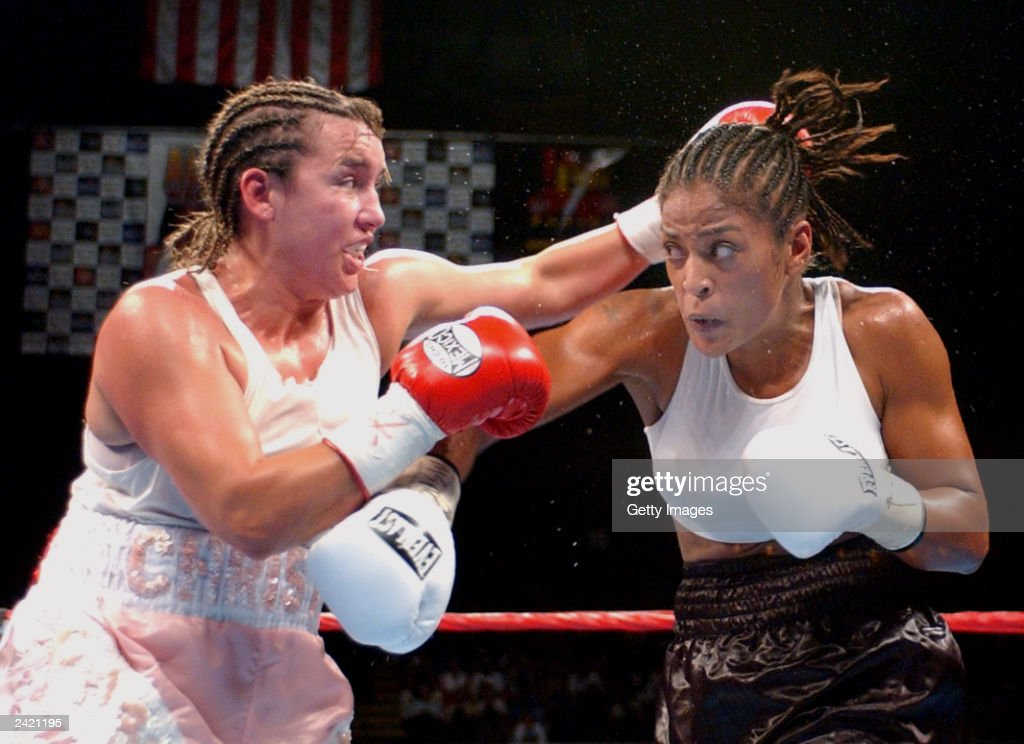 Christy Martin and Laila Ali square off on August 23, 2003 at the Mississippi Coast Coliseum in Biloxi, Mississippi. Ali defeated Martin with a fourth round knock out.