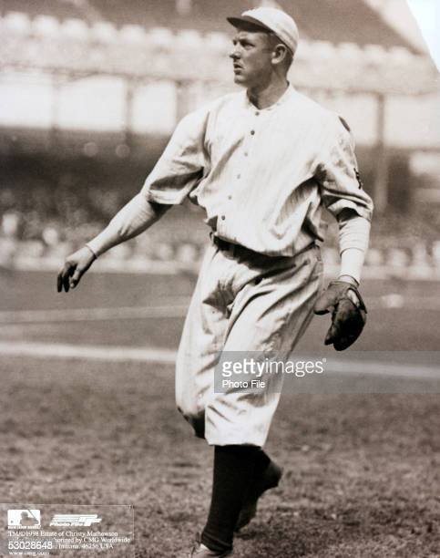 Christy Mathewson of the New York Giants warms up before a season game Christy Mathewson played for the New York Giants from 19001916