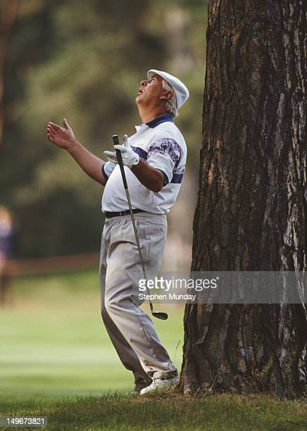Christy O'Connor Jnr reacts to a missed shot at the 17th hole during the British Masters tournament on 28th May 1992 at the Woburn Golf and Country...