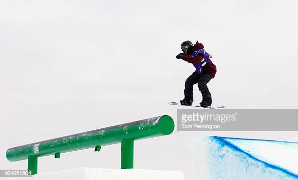 Christy Prior of New Zealand competes during the FIS Snowboarding World Cup 2015 Ladies' Snowboard Slopestyle Final during the US Grand Prix at Park...