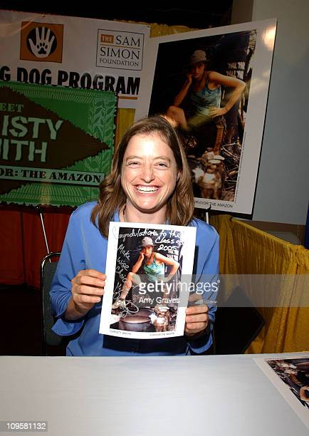 Christy Smith of Amazon Survivor signs autographs and greets fans at the Sam Simon Foundation's Hearing Dog program at Deaf Expo in Anaheim CA