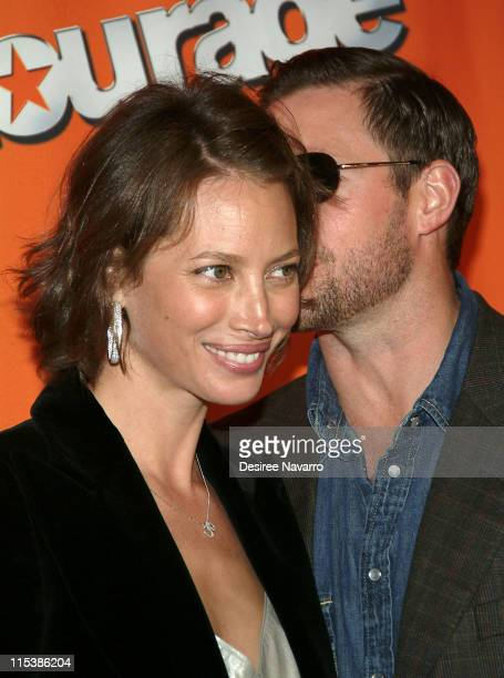 Christy Turlington and husband Ed Burns during HBO's 'Entourage' Season 2 New York City Premiere Arrivals at The Tent at Lincoln Center in New York...