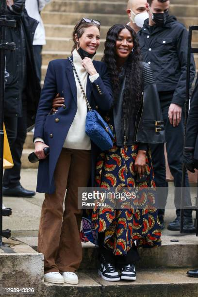 Christy Turlington and Naomi Campbell are seen leaving the Fendi show on January 27, 2021 in Paris, France.