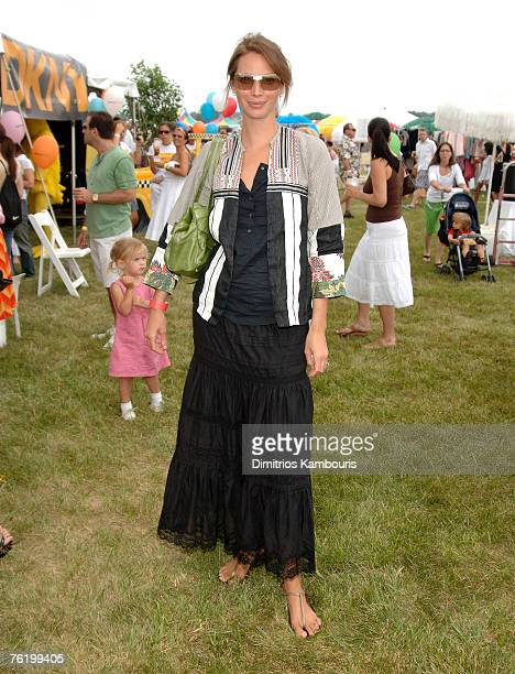Christy Turlington at the DKNY Kids activity booth