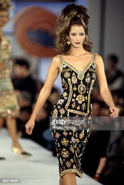 Christy Turlington at the Todd Oldham Spring 1993 show circa 1992 in New York City