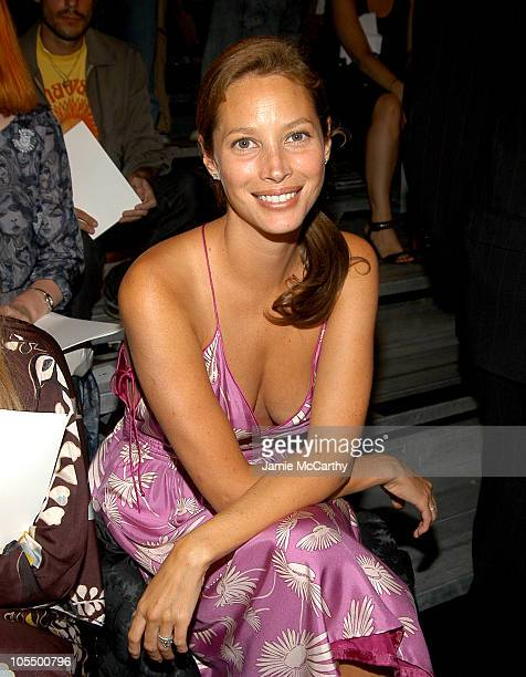 Christy Turlington during Olympus Fashion Week Spring 2005 Marc Jacobs Front Row at Pier 54 in New York City New York United States