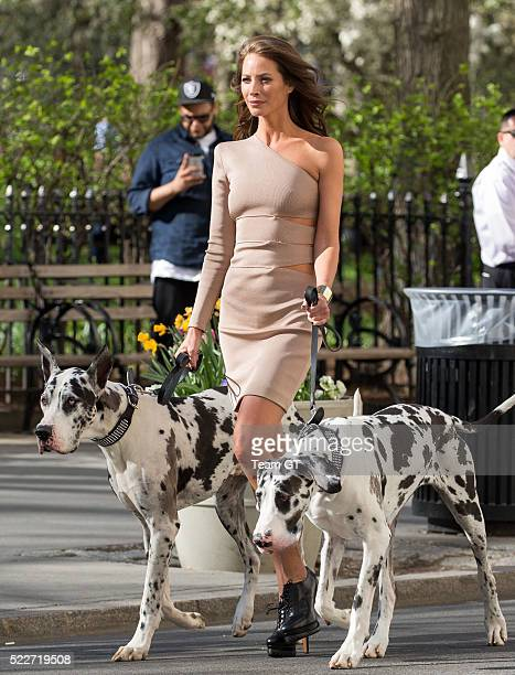 Christy Turlington is seen filming Maybelline commercial on April 20 2016 in New York City