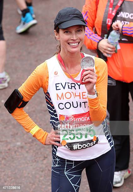 Christy Turlington is seen finishing the London Marathon on April 26 2015 in London England