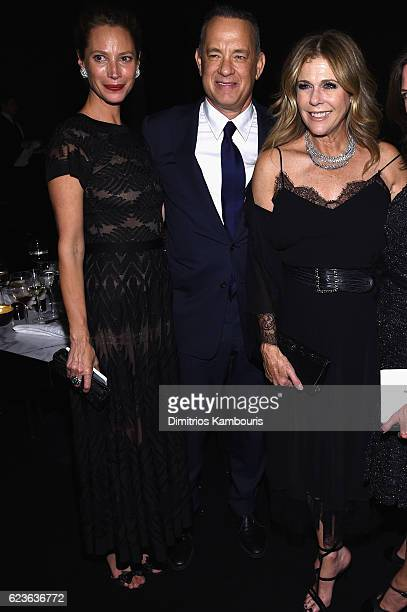 Christy Turlington Tom Hanks and Rita Wilson attend the MoMA Film Benefit presented by CHANEL A Tribute To Tom Hanks at MOMA on November 15 2016 in...