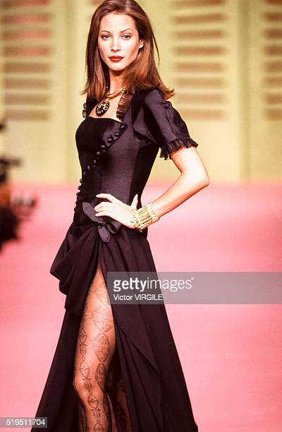 Christy Turlington walks the runway at the Christian Lacroix Ready to Wear Spring/Summer 19921993 fashion show during the Paris Fashion Week in...