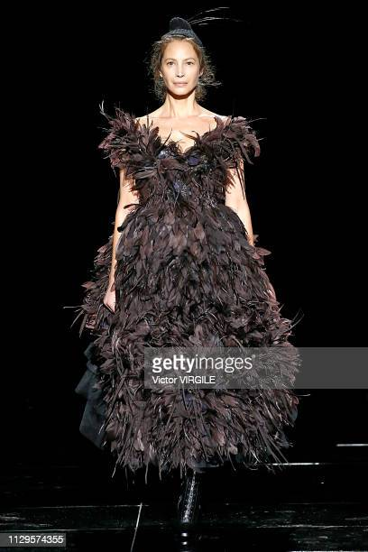 Christy Turlington walks the runway at the Marc Jacobs Ready to Wear Fall/Winter 20192020 fashion show during New York Fashion Week on February 13...
