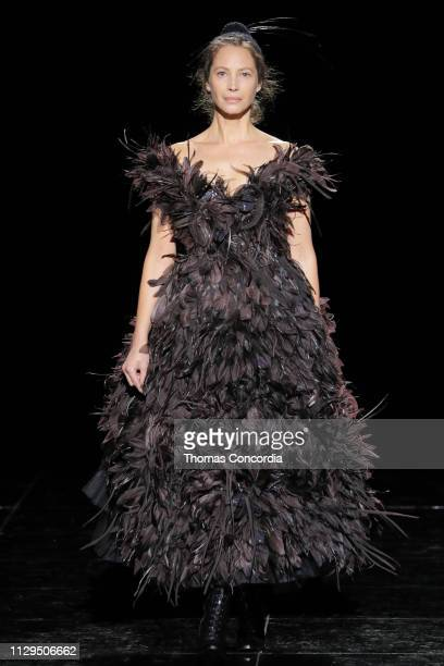 Christy Turlington walks the runway wearing Marc Jacobs Fall 2019 collection with hair by Guido Palau and makeup by Diane Kendal on February 13 2019...