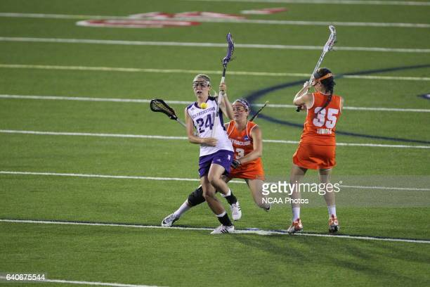 Christy Turner of Northwestern University is fouled by Kailah Kempney of Syracuse University during the Division I Womens Lacrosse Championship held...