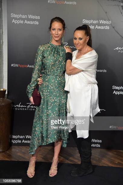 Christy Tyrlington Burns and Donna Karan attend the 2018 Stephan Weiss Apple Awards at Stephan Weiss Studio on October 24 2018 in New York City
