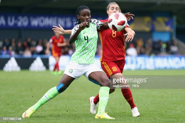 Claudia Pina of Spain celebrates after the FIFA U20 Women's World Cup France 2018 Quarter Final quarter final match between Spain and Nigeria at...