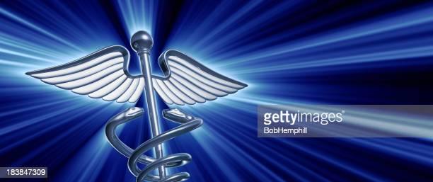 Chrome Caduceus Medical Symbol with Light Blast